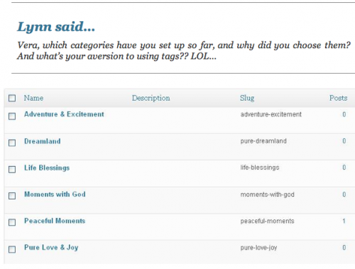 Vera's WordPress Categories