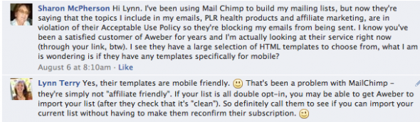 MailChimp Discussion on Facebook