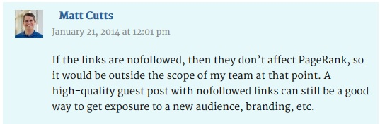 Matt Cutts Encourages Nofollow Links in Guest Posts