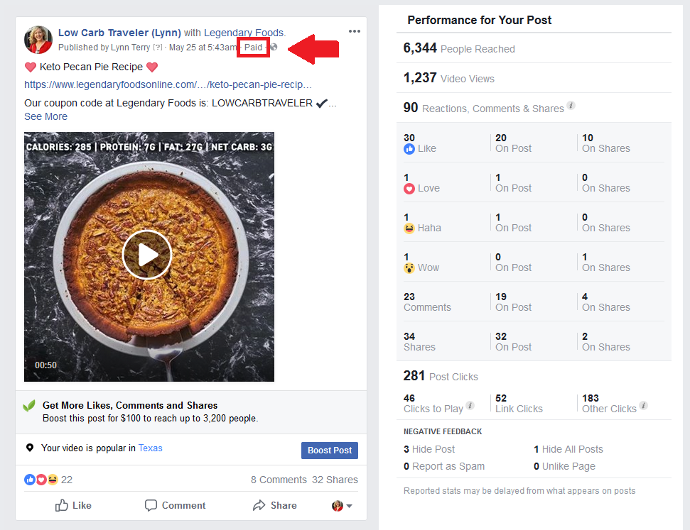 Paid Facebook Branded Content Example